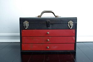 Antique Metal Storage Box with a Lid