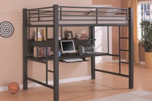 Cheap Metal Desk Bunk Bed with Black Design