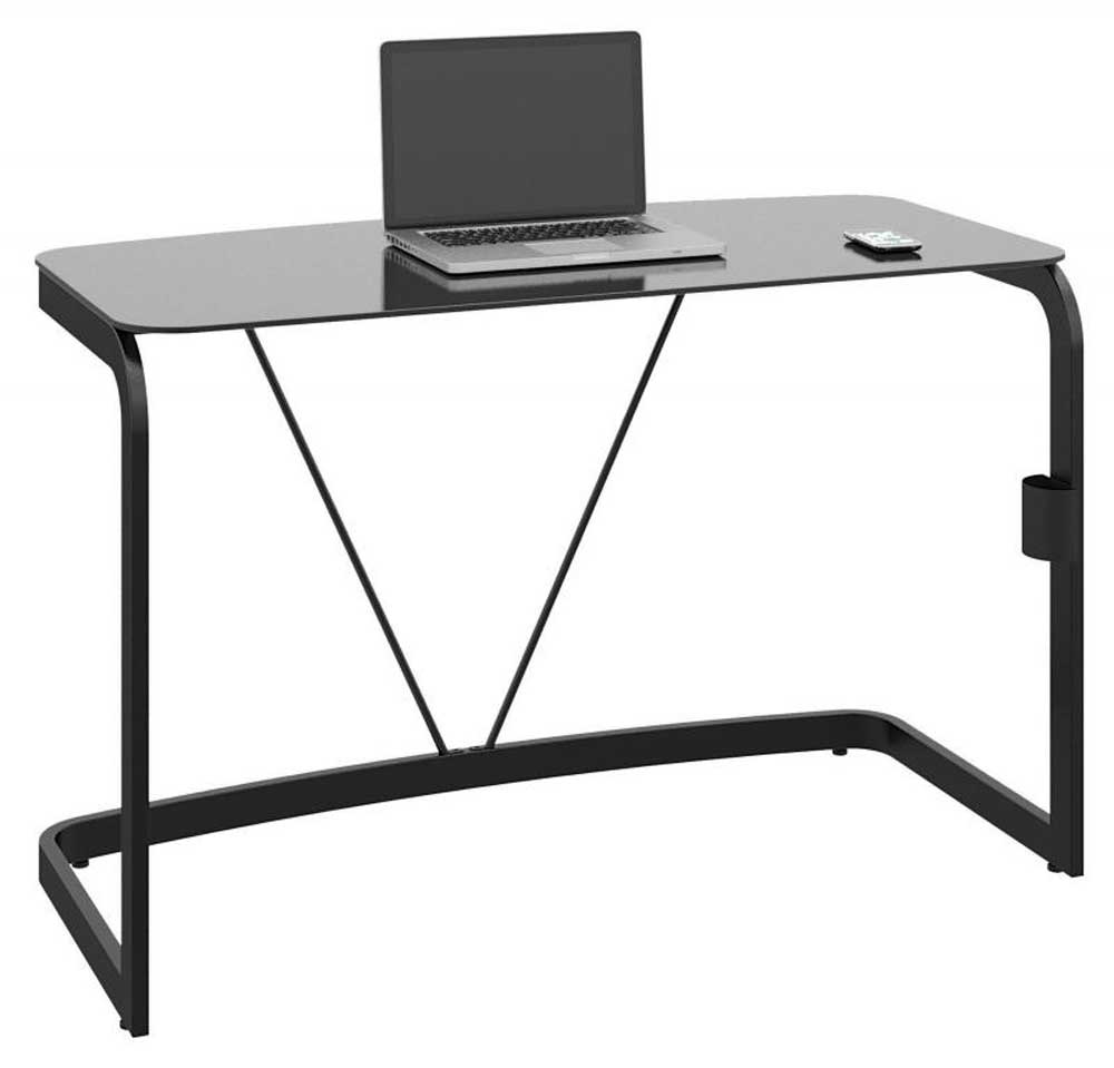 Metal Desk Glass with Computer Set Up on a Budget