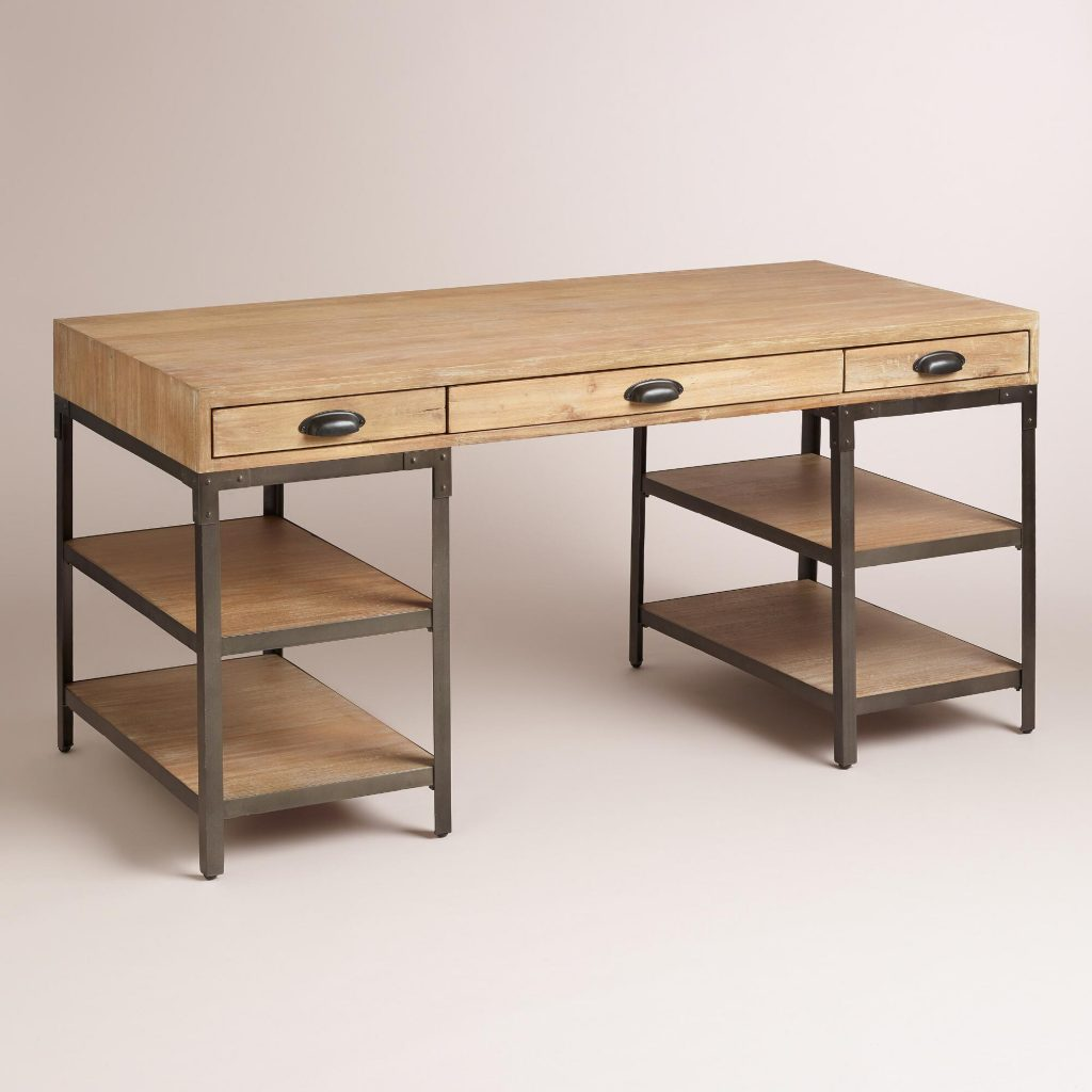 Cheap Metal Desk with Wooden and Open Cabinet