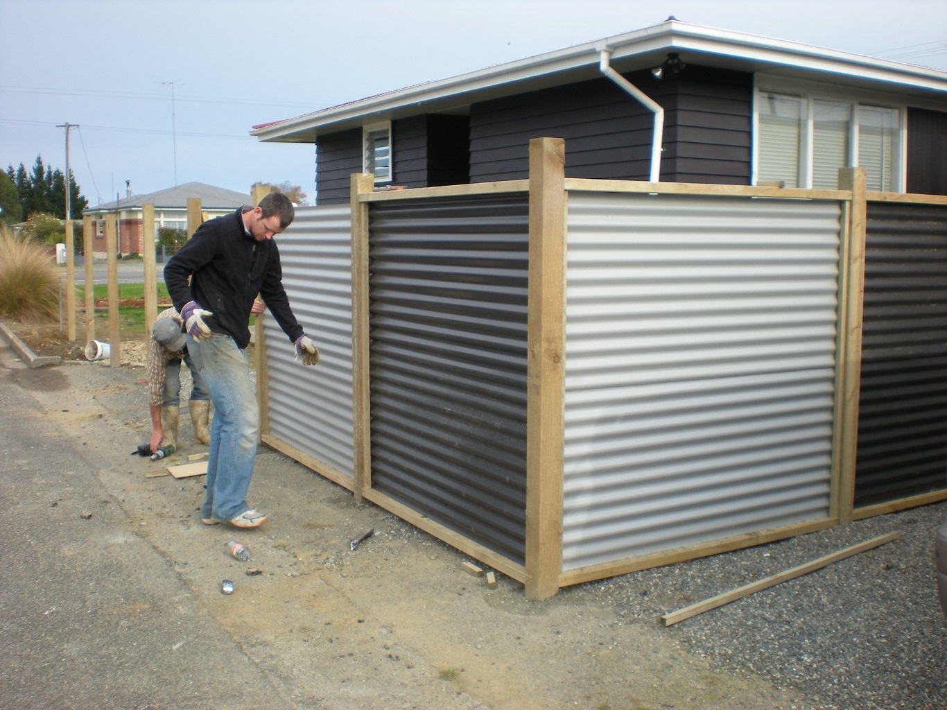 cheap corrugated metal fence plans