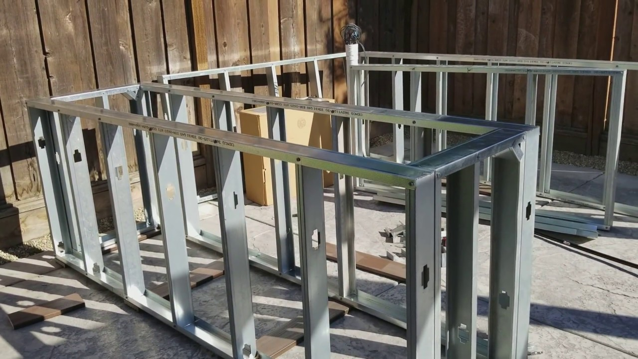 how to build an framing with metal studs on outdoor kitchen on a budget