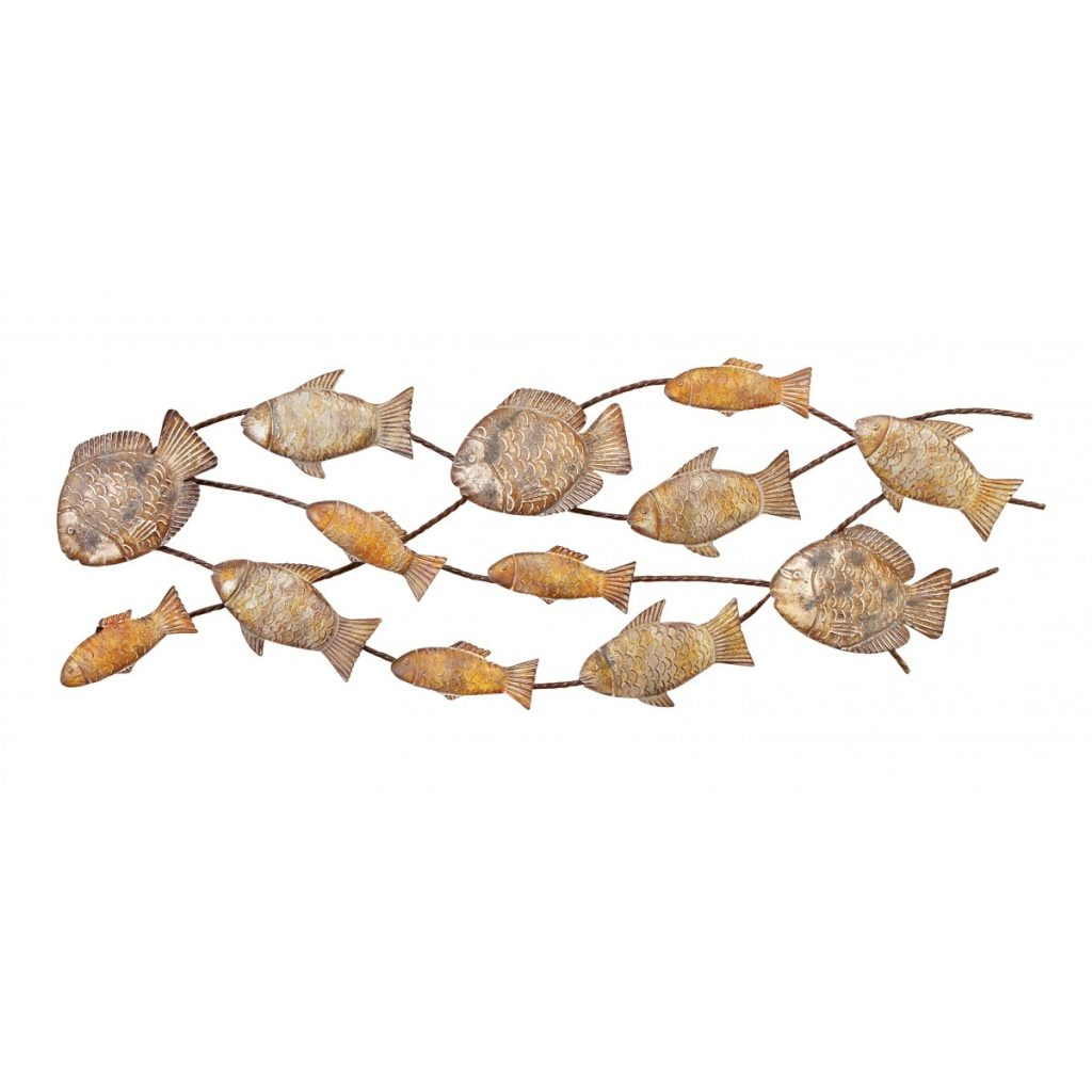 cheap metal school of fish wall art for sale